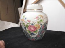 ELEGANT SMALL LAUDEL CHINA GINGER JAR & LID FLORAL BOUQUET ORIENTAL BLOSSOMS